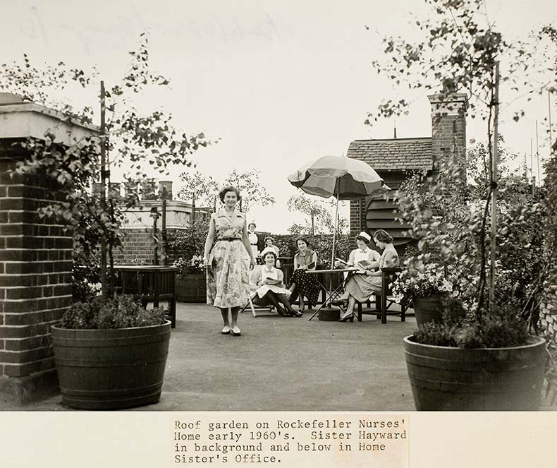 Nurses in 1960s on UCH roof garden