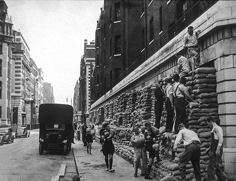 Sandbags being placed during 2nd World War